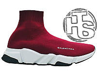 Женские кроссовки Balenciaga Knit High-Top Sneakers Wine Red