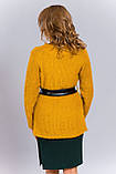 Женский вязаный кардиган горчичного цвета, фото 2
