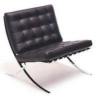 Кресло Барселона, мягкое, кожзам, нержавеющая сталь, цвет черный