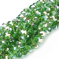 Бусины Стекло Гальваника Граненые АВ-Цвет Рондель 3*2мм Зеленый