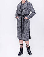 Модное пальто с эко-кожей