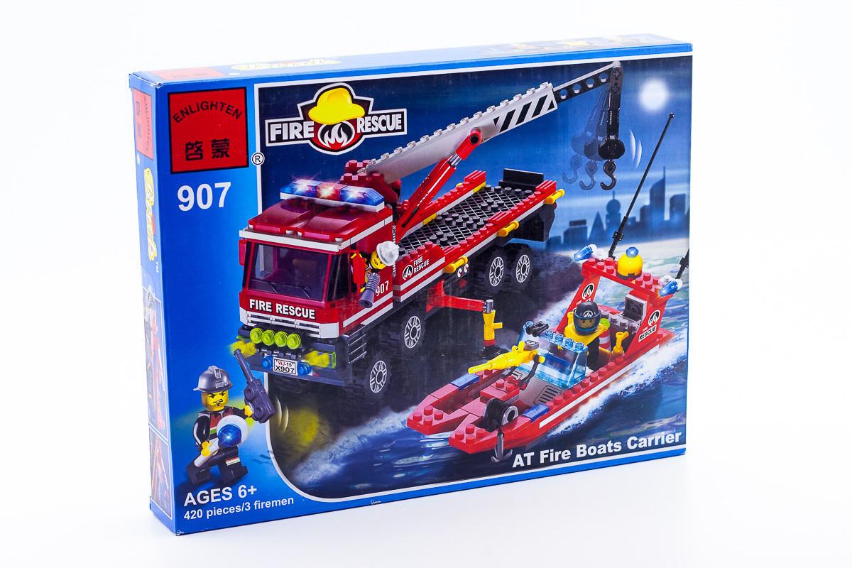 """Конструктор Вгіск 907 """"Пожежна техніка"""" Велика пожежна машина, рятувальники, пожежний катер, 420 деталей"""