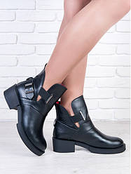 Ботинки кожаные женские с регулировкой обхвата