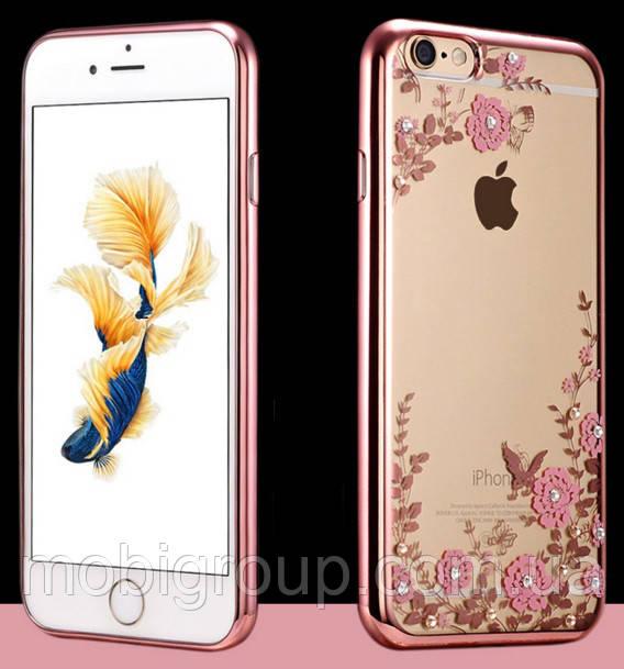 Чехол с цветами и стразами для iPhone 7