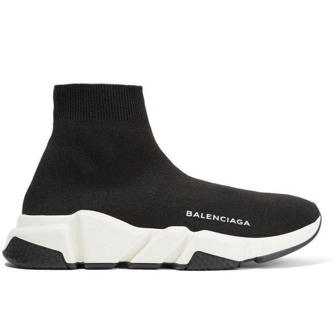 Кроссовки Balenciaga Speed Trainer черно-белые топ реплика