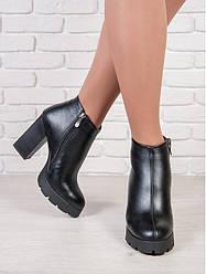 Ботильоны женские кожаные, каблук 10 см