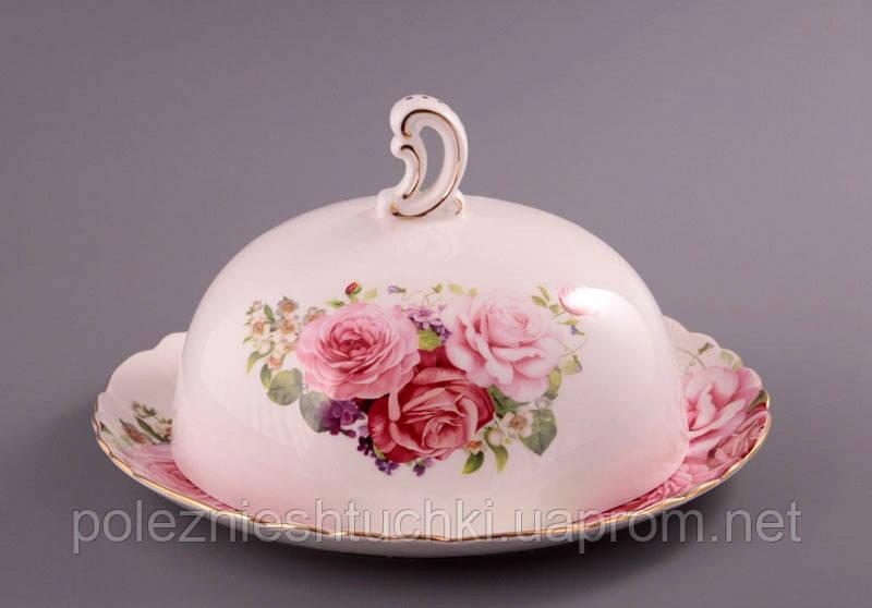 """Блюдо с крышкой круглое 28х15 см. """"Розы"""" фарфоровое, розовое"""