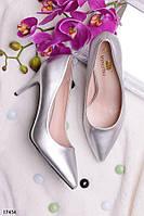 Туфли-лодочки серебристые классика каблук 8,5 см эко-кожа