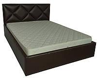 Кровать двуспальная Лидс металл, да, 160х200 кожзам Мадрид 0928 черный, Коричневый