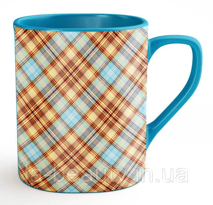 """Кружка / чашка """"Голубая клетка"""" глянцевая"""