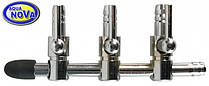 Кран для аэратора 4/6 мм. нерж. AquaNova ANV- 3 на три выхода.