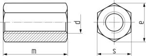 Описание: Гайка шестигранная удлинённая DIN 6334. Чертёж