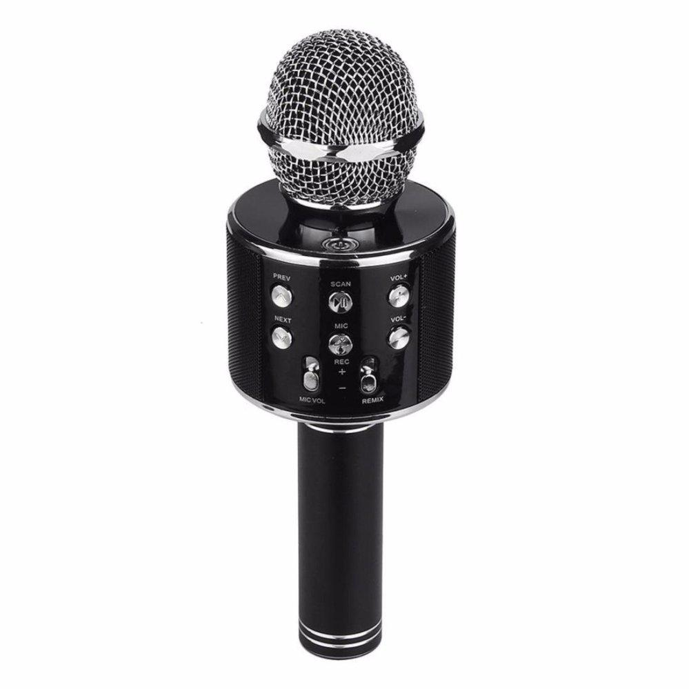 Беспроводной Bluetooth Караоке-микрофон WS-858 с чехлом черный
