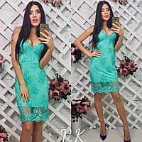 Платье-футляр с дорогим кружевом сирень, ментол, молоко, голубое
