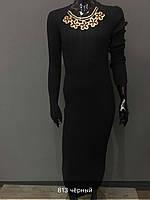 Женское платье с декором черное
