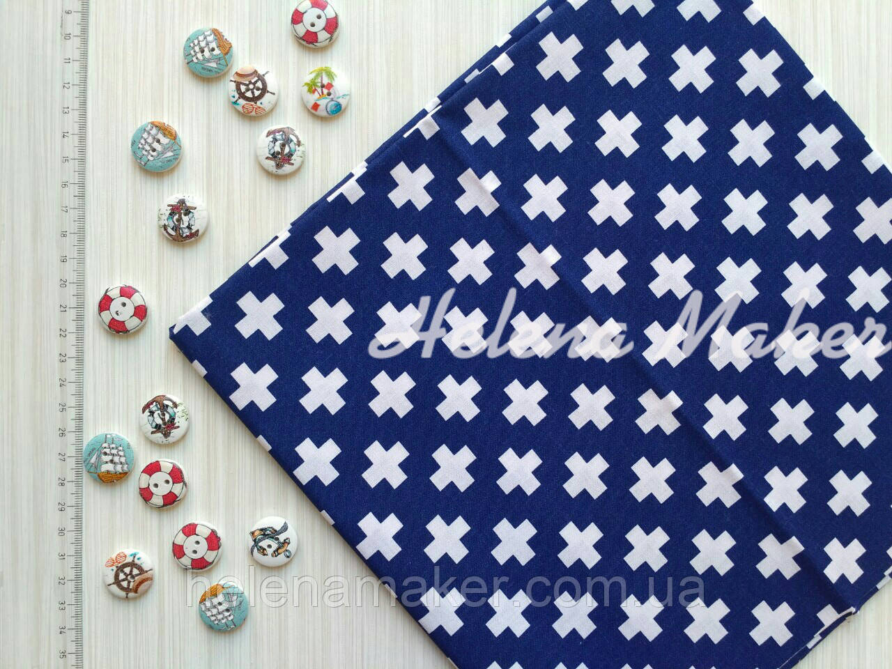 Отрез хлопковой ткани Белые плюсики на синем 55*55 см