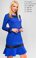 Изящное платье приталённого силуэта Liya юбка с отрезным воланом по низу декорирована геометрической тесьмой (Электрик) (147)3127