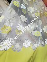 Тюль квіткова з салатовим, фото 1