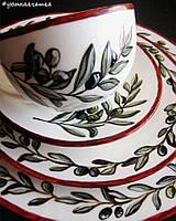 """Набор фарфоровой посуды с ручной росписью """"Олива"""""""