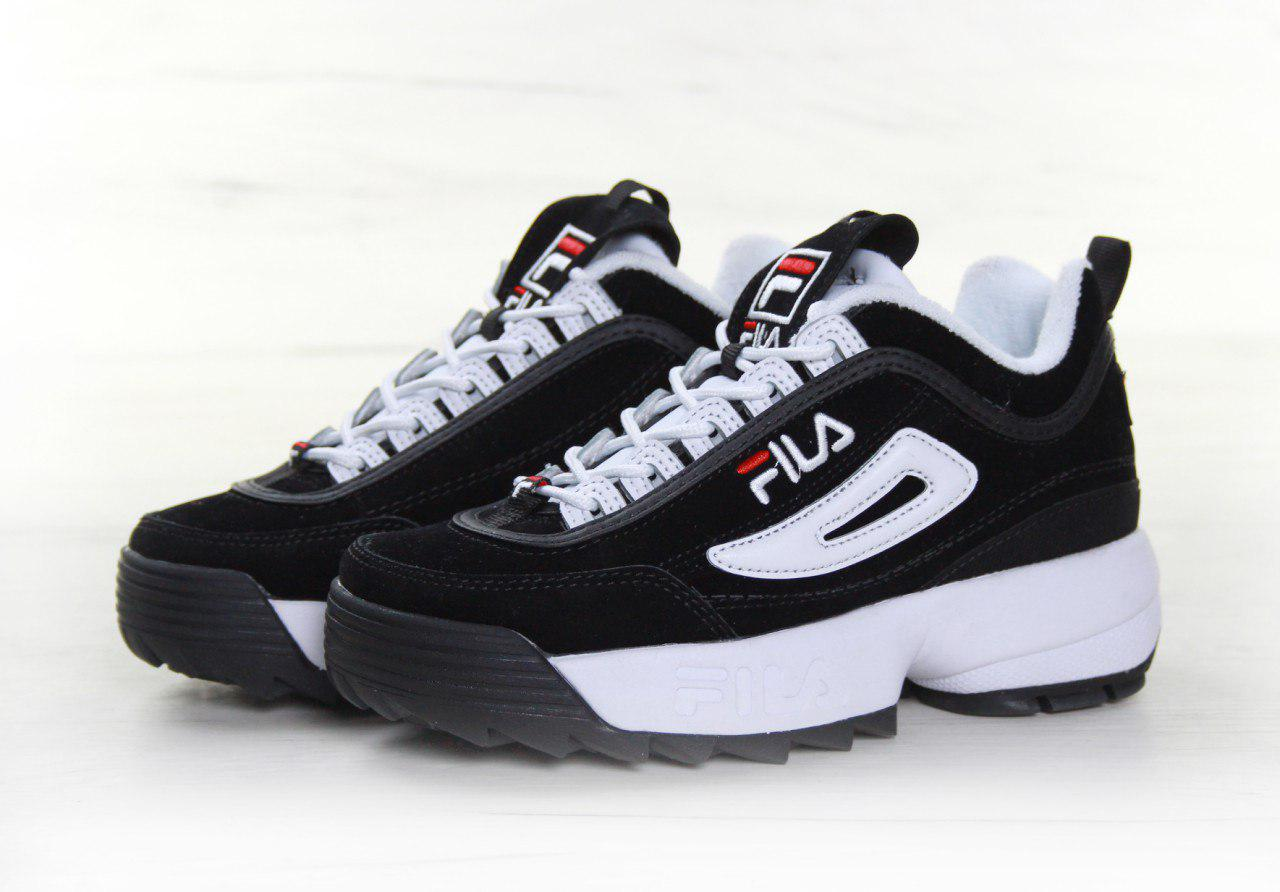 02f6296e1e20 Кроссовки женские Fila Disruptor II Black White Suede топ реплика -  Интернет-магазин обуви и