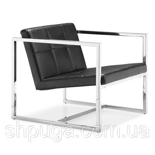 Кресло Нортон, мягкое, нержавеющая сталь, цвет черный