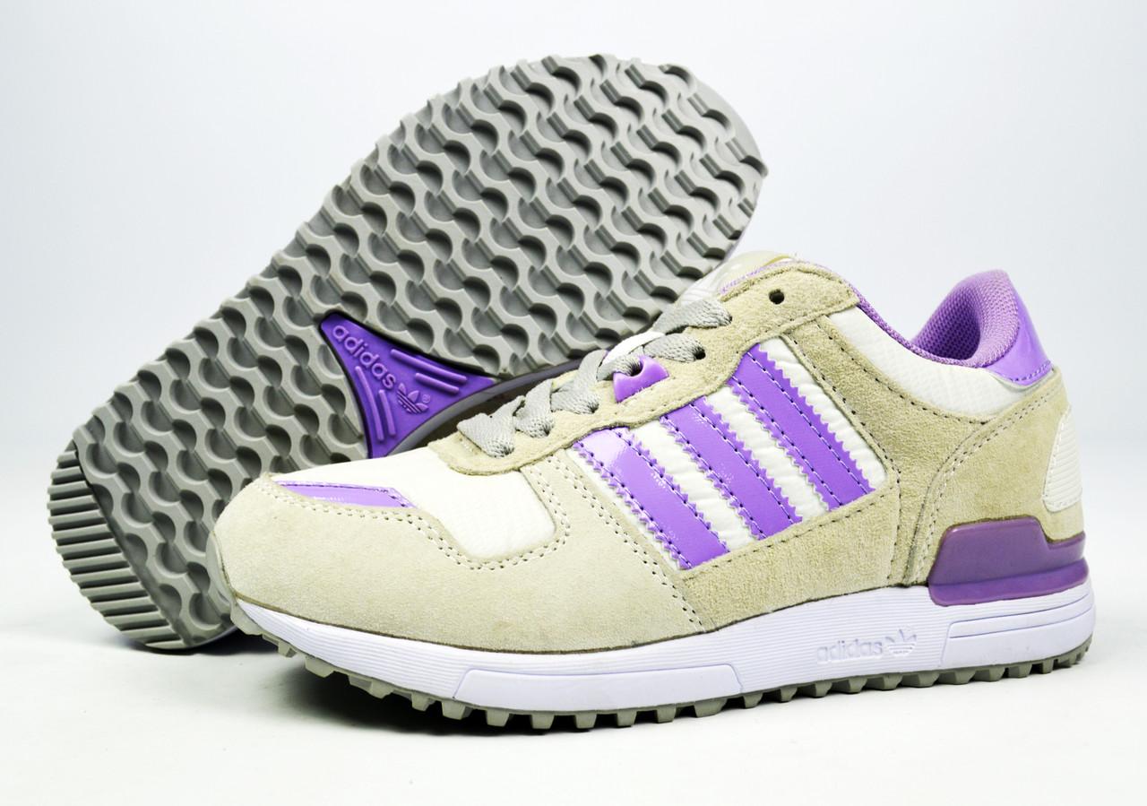Белые, серые женские кроссовки для бега, занятий спортом Adidas ZX 700 Originals (модные новинки весна, лето)
