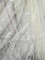 Тюль фатин с серебряной вышивкой