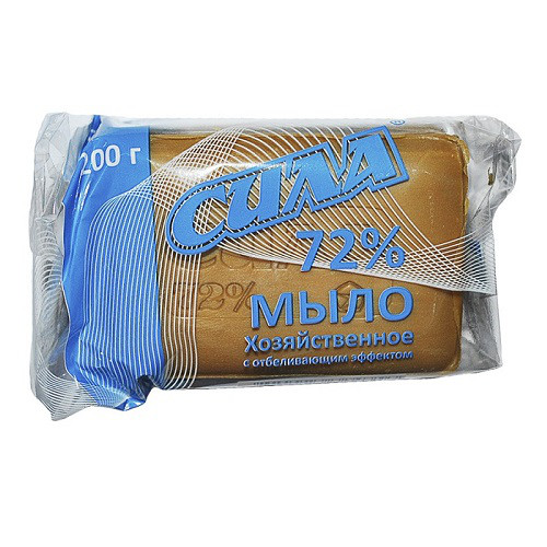 Мыло хозяйственное твердое СИЛА 200 г. 72% без упаковки коричневое