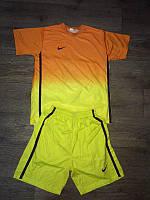 """Форма футбольная  """"NIKE"""" оранжево-желтая L, с номером"""