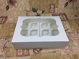 Коробка для 12-ти кексов / 340х250х90 мм / Белая / окно-обычн