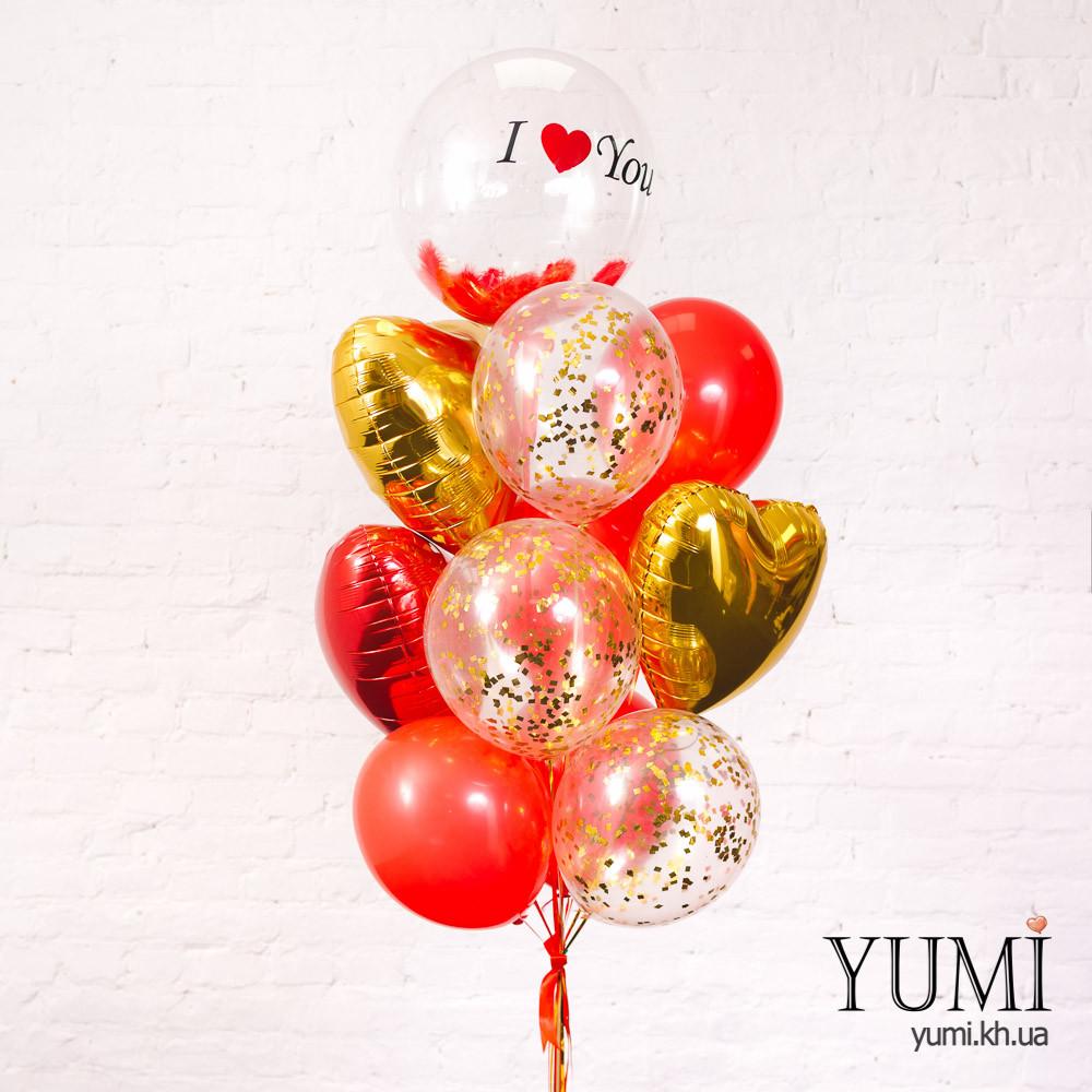 Стильная связка из шариков с гелием к 14 февраля