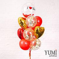 Композиция из шара Bubble с надписью и перьями, 3 золотых и красных сердец, 3 шаров с золотым конфетти