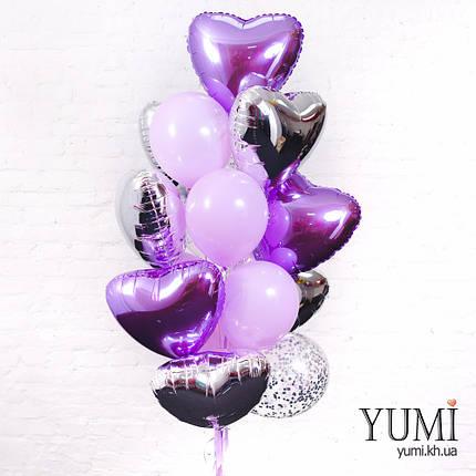 Фонтан из фольгированных и латексных шаров с гелием, фото 2