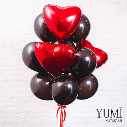 Связка из 5 фольгированных красных сердец и 10 черных шаров, фото 2