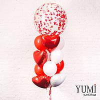 Композиция из шара-гиганта с конфетти, 3 красных и 3 белых фольгированных сердец, 5 красных и 5 белых шаров