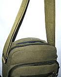 Мужская текстильная барсетка  на плечо 18*23 см цвет хаки, фото 2