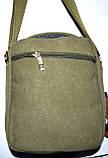 Мужская текстильная барсетка  на плечо 18*23 см цвет хаки, фото 3