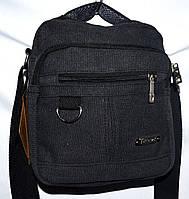 Мужская черная текстильная барсетка  на плечо 18*23 см, фото 1