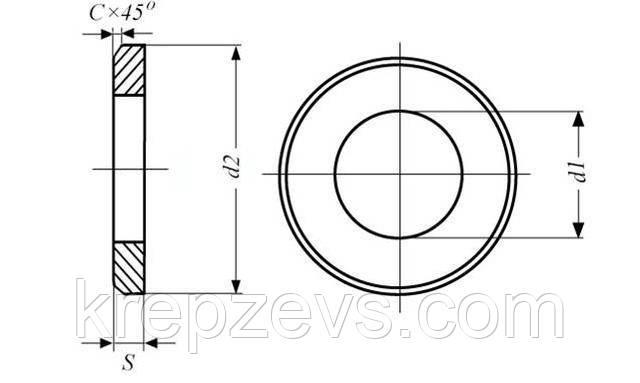 Схема шайбы ГОСТ 9065-75