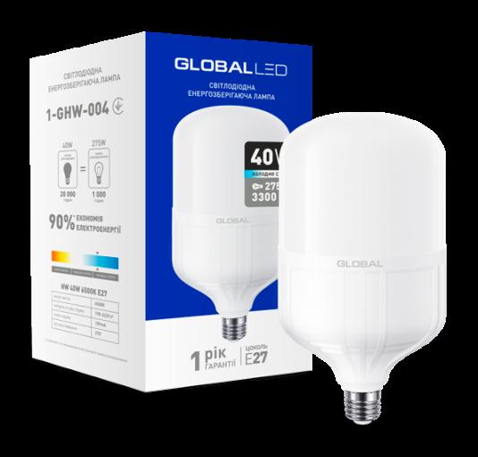 Світлодіодна лампа високопотужна GLOBAL 1-GHW-004 40W 6500K E27 Код.58280