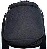 Мужская черная текстильная барсетка  на плечо 18*23 см, фото 2