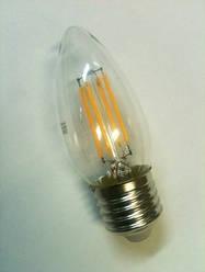 Светодиодная лампа Lemanso Filament LED LM391 4W С35 Е27 3000K (свеча, прозрачная) Код.58526
