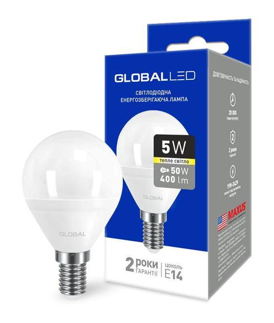 Светодиодная лампа GLOBAL 1-GBL-143 G45 5W 3000К E14 220V Код.58602
