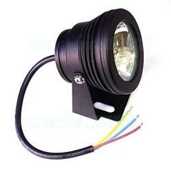 Светодиодный круглый линзованый прожектор SL-10-12 10W 12V 3000К IP67 черный Код.58719