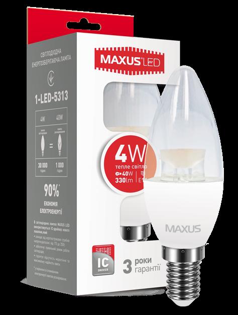 Светодиодная лампа Maxus 5313 С37 4W 3000K E14 220V Код.54537