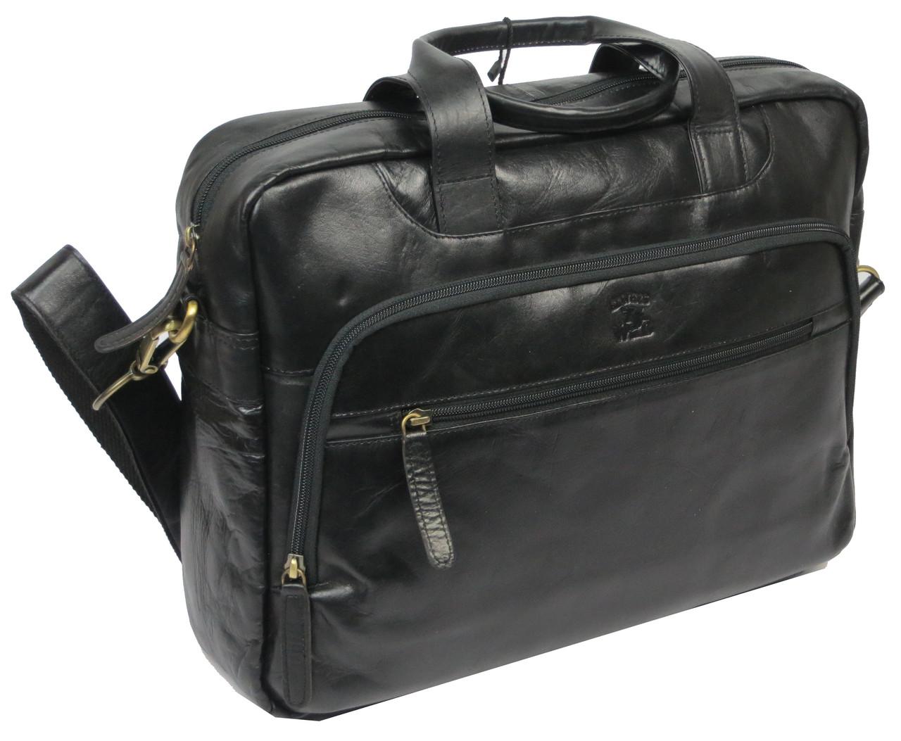 Мужская кожаная сумка-портфель Always Wild LAP 513-31254 черная