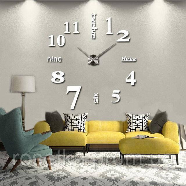 Настенные серебристые часы с 3D-эффектом с надписями и цифрами, 3M002S