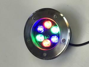Світлодіодний тротуарний линзованный світильник LM11 6W RGB-IP65 220V Код.58901