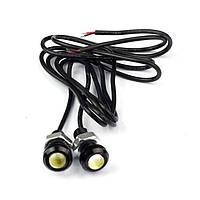 Светодиодный линзованный мини светильник красный 12V 3W с гайкой черный Код.58923