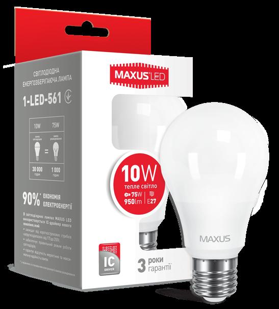Светодиодная лампа Maxus 561 A60 10W 3000K 220V E27 Код.52764